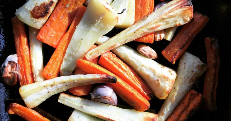 Garlic and Rosemary Roasted Carrots and Parsnips