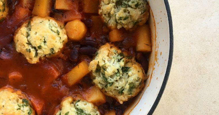 Root Vegetable and Bean Stew with Herb Dumplings