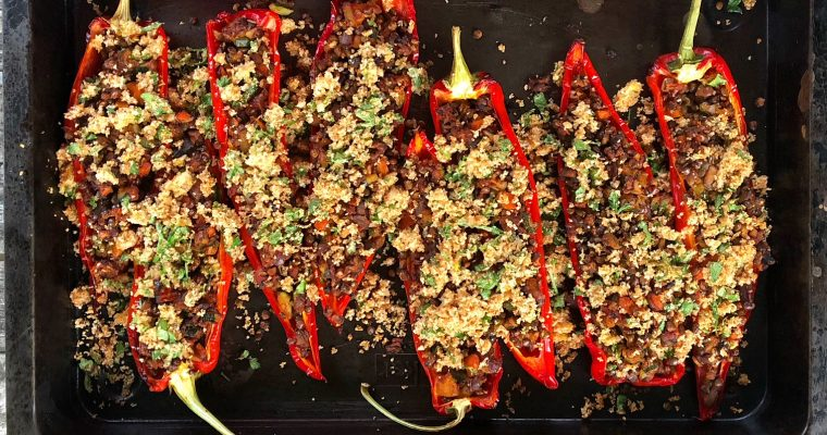 Lentil Stuffed Peppers with a Lemon Crumb