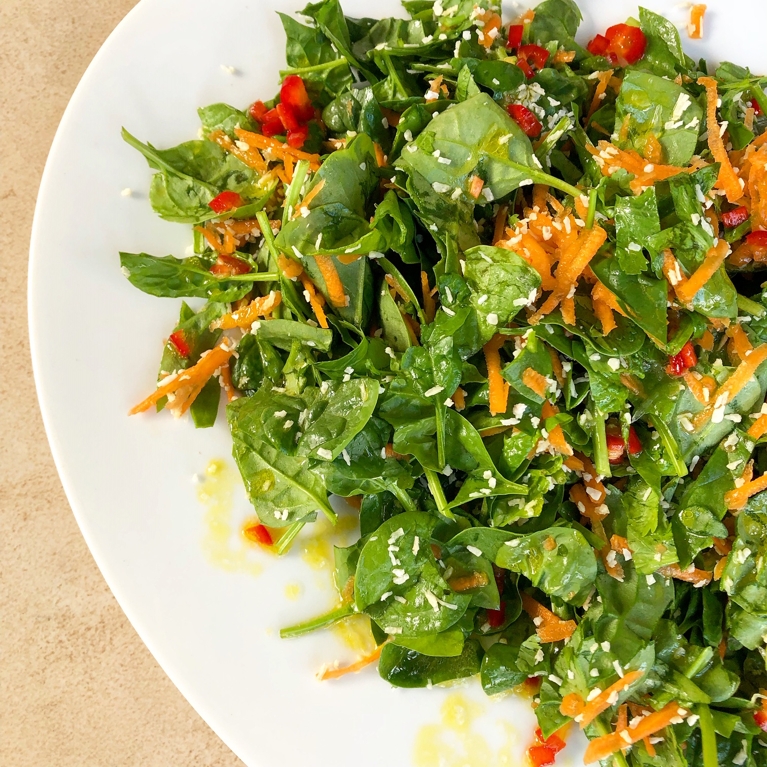 Spinach, Carrot and Coconut Salad